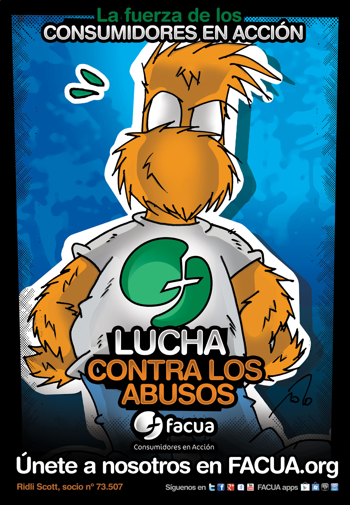 Ridli Scott, personaje del universo Fanhunter de Cels Piñol, se une a FACUA en la #luchacontralosabusos