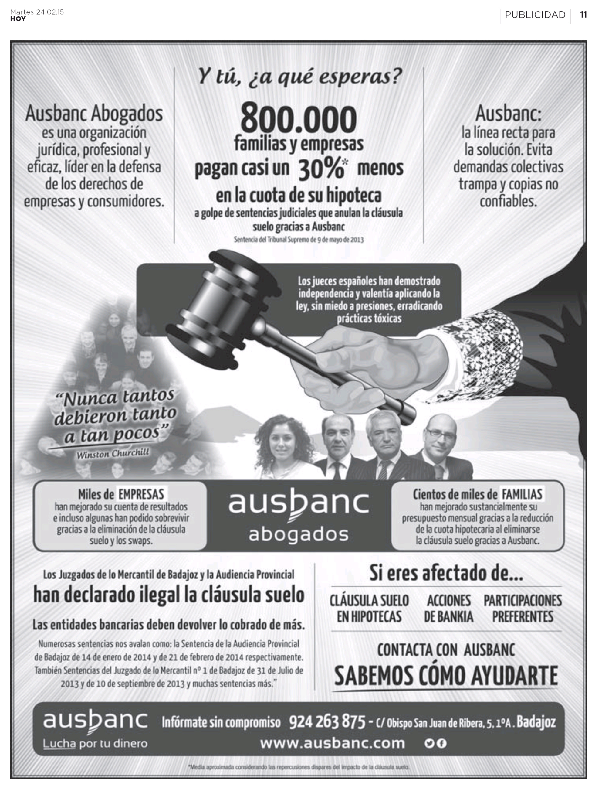 Facua denuncia a ausbanc por falsear dos sentencias de la for Clausula suelo badajoz
