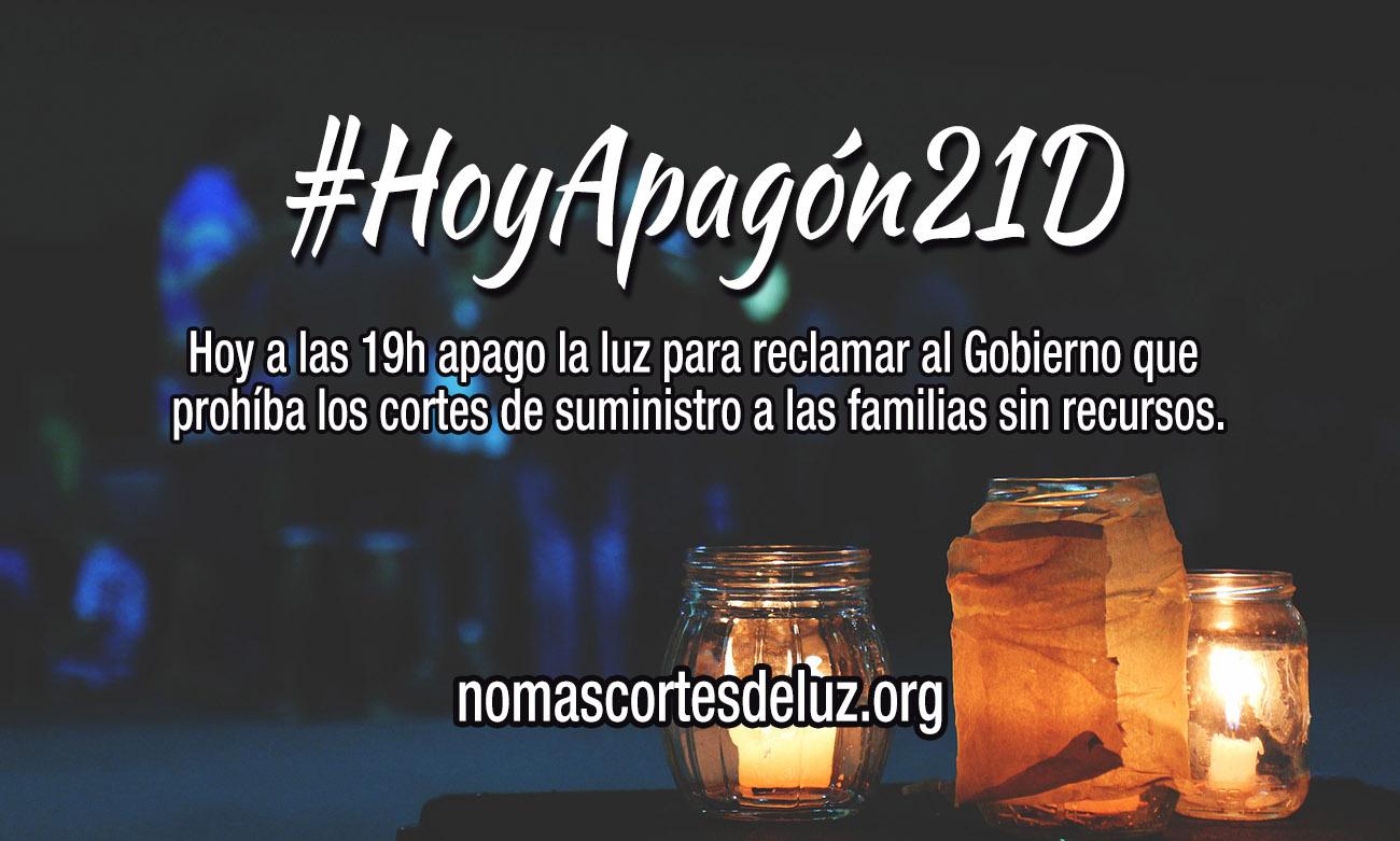 Hoy a las 19h apago la luz para reclamar al Gobierno que prohíba los cortes de suministro a las familias sin recursos.