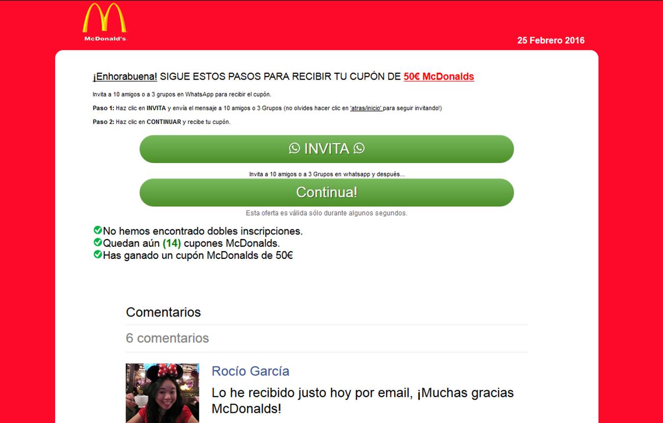 FACUA alerta de un falso cupón de McDonald's en WhatsApp que pretende hacerse con datos personales