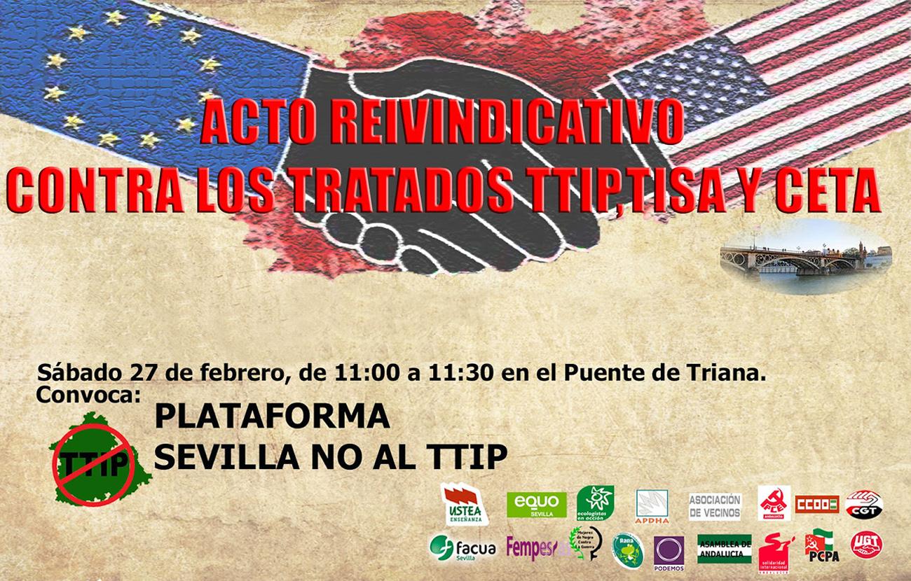 La Plataforma Sevilla No al TTIP llama a la movilización ciudadana contra el TTIP, TISA y CETA
