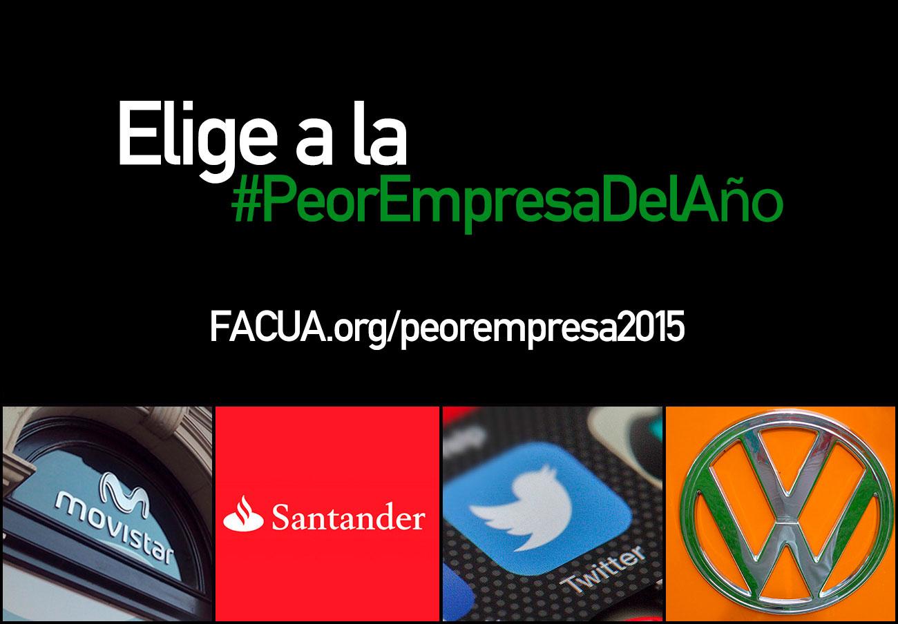 Elige a la #PeorEmpresaDelA�o: las nominadas son Movistar, Santander, Twitter y Volkswagen