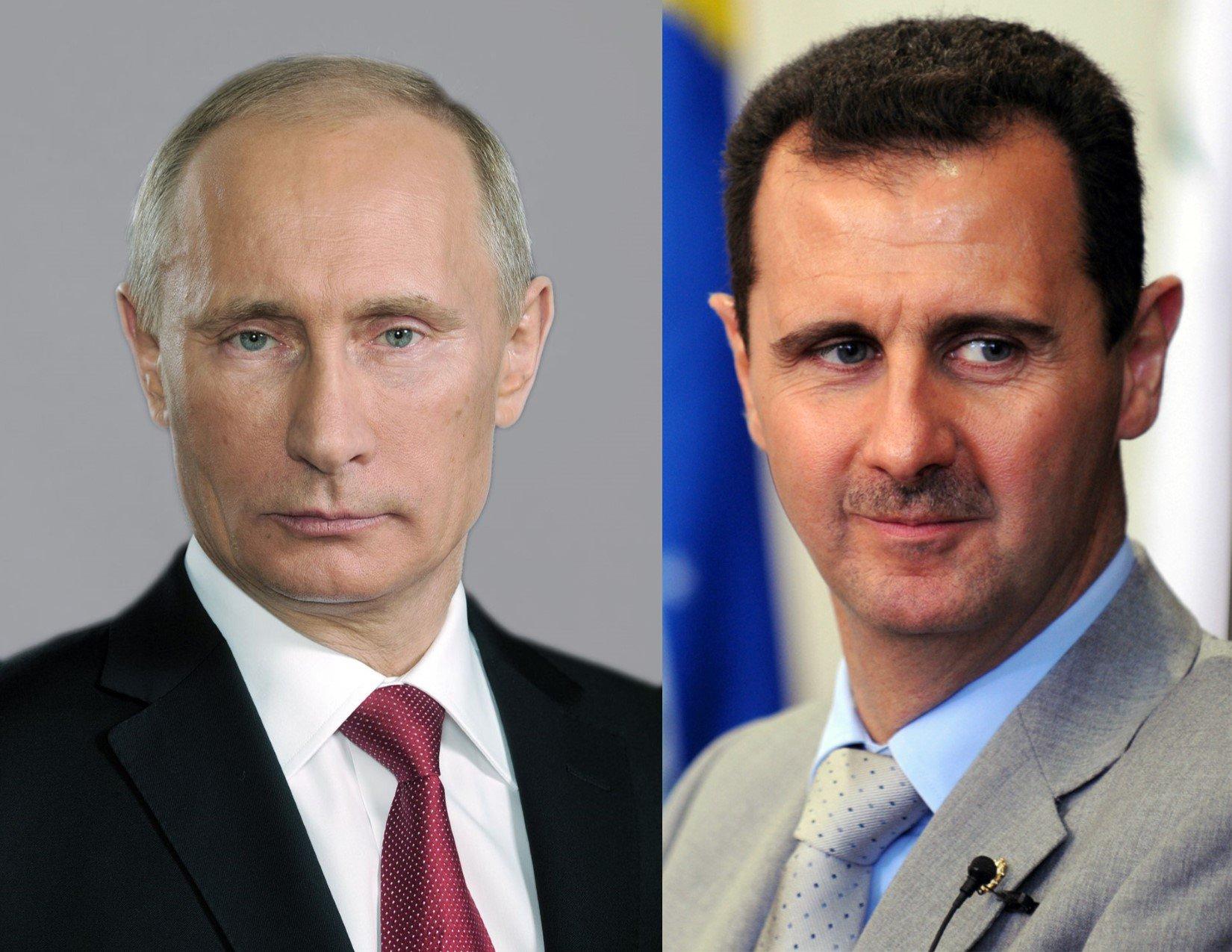 El presidente sirio, Bashar Al Assad (izquierda) y su homólogo ruso, Vladimir Putin.