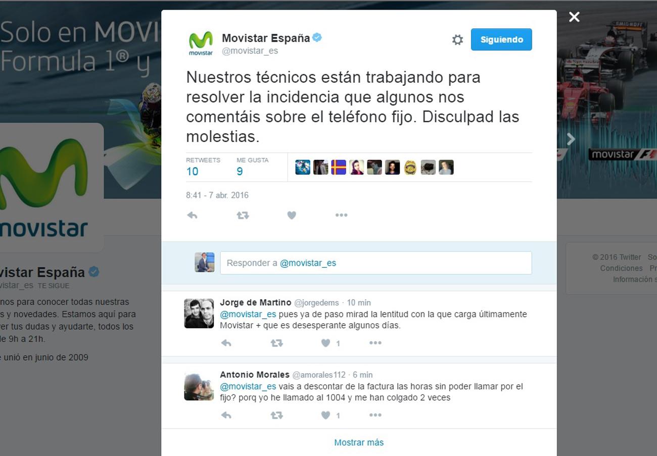 Una avería en Movistar provoca una caída masiva de sus servicios de voz e internet fijos