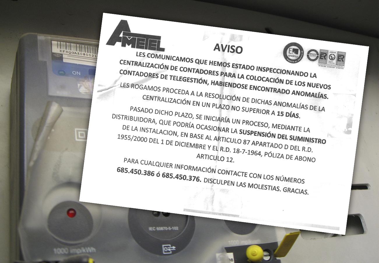 Cartel colocado por Endesa y Ametel en el que advierten del posible corte del suministro. | Imagen: FACUA.