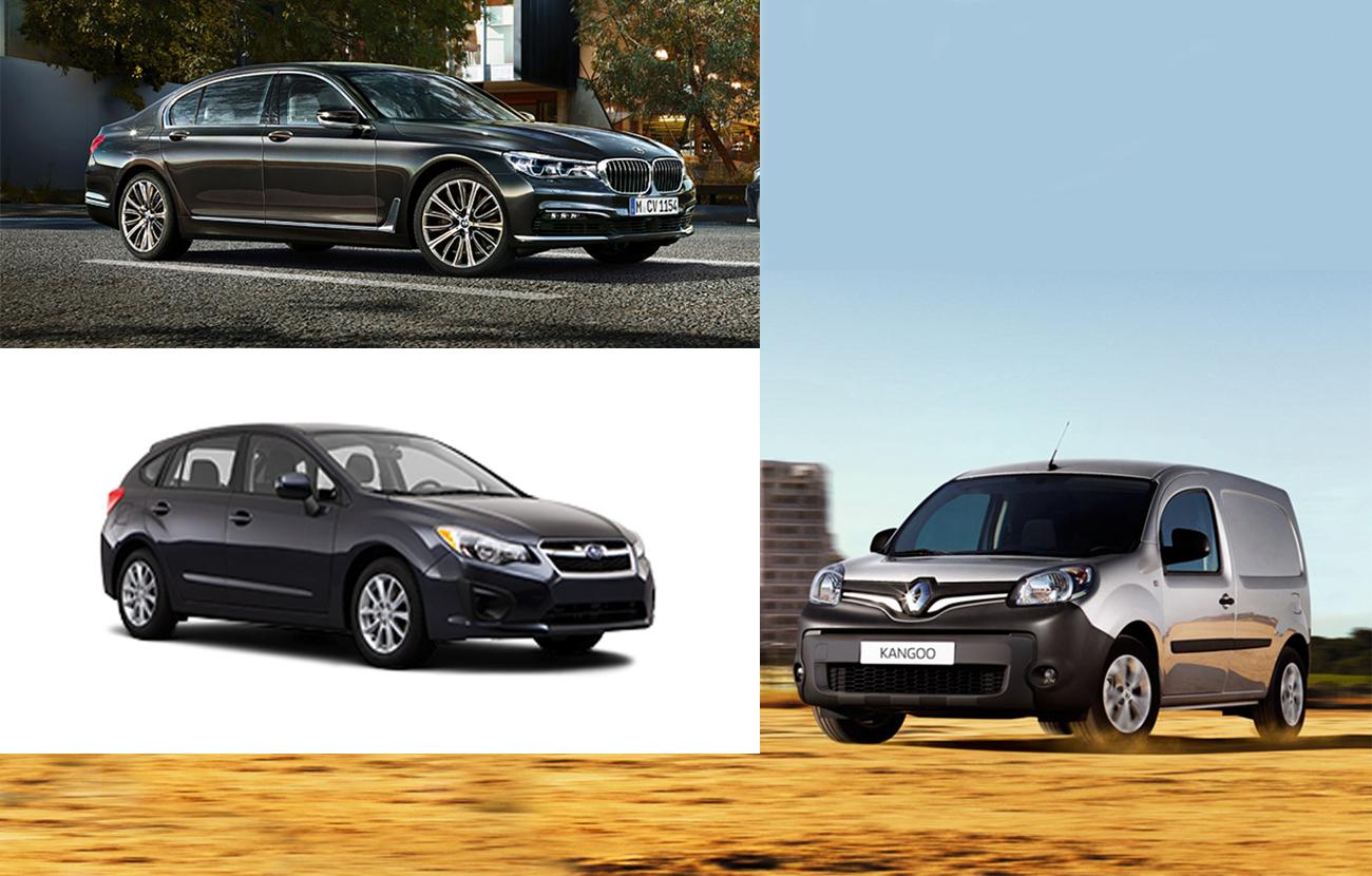 FACUA alerta de la llamada a revisión de vehículos BMW serie 7, Renault Traffic y Subaru Impreza