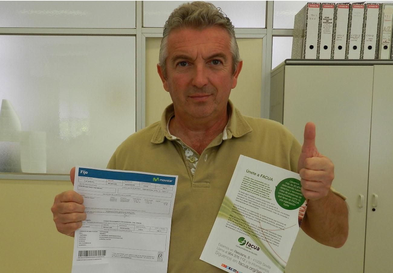 FACUA Sevilla logra que Movistar anule el cobro de 178 euros a un usuario tras un cambio de titularidad