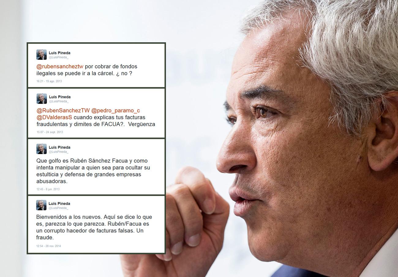 La primera demanda que interpuso Rubén Sánchez contra Luis Pineda se refería a 57 tuits difamatorios. El día que trascendió públicamente la sentencia, el 28 de noviembre de 2014, el jefe de Ausbanc contestó mofándose de ella con decenas de tuits en los que insistía en sus ataques.