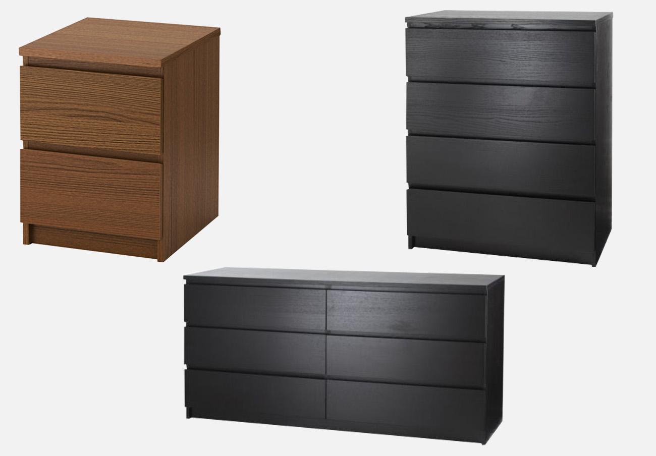 Modelos de la cómoda Malm que están a la venta en España. | Imagen: Ikea.es.