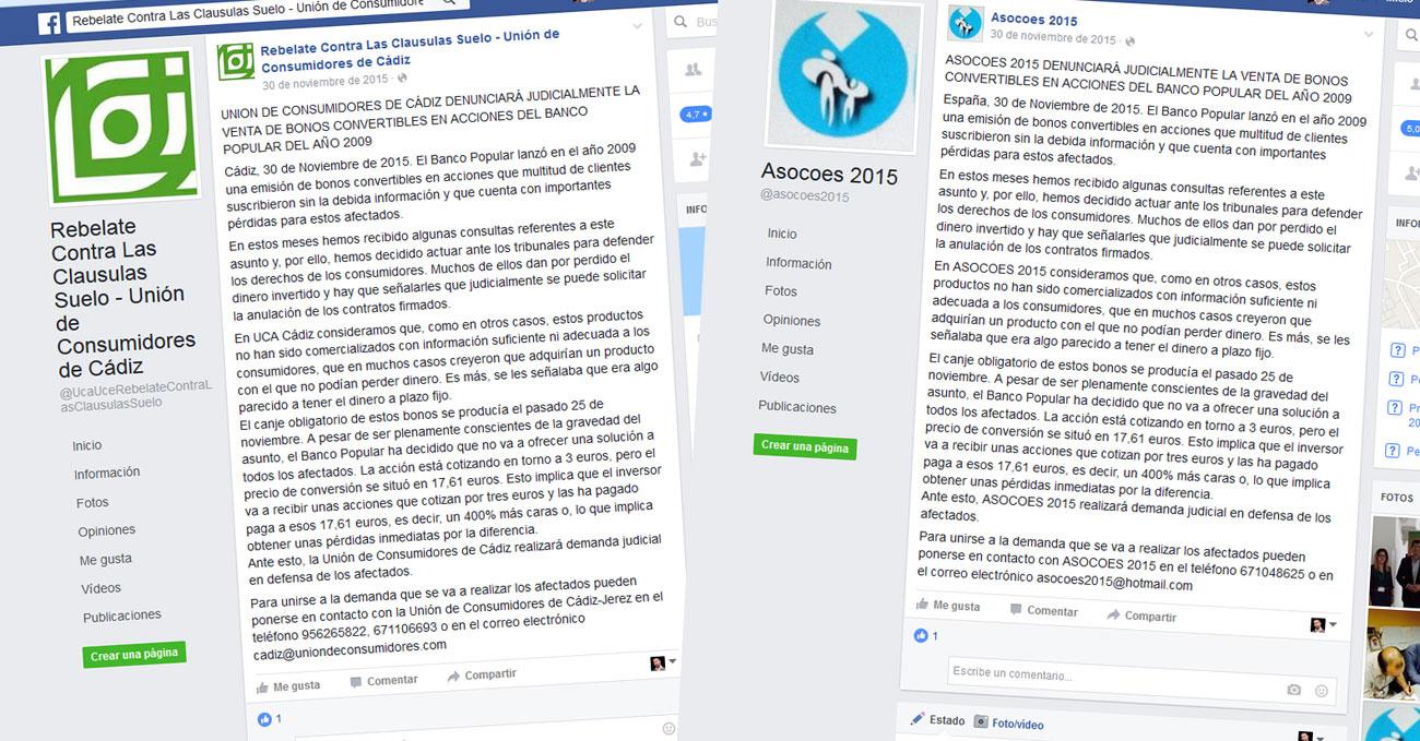 Dos de los comunicados de prensa lanzados por UCA Cádiz y Asocoes con idéntico texto, en sus respectivas páginas en Facebook.