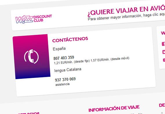 Wizz Air remite en su web a una línea de tarificación adicional y a otra con prefijo de Barcelona que da atención exclusivamente en catalán.