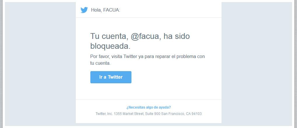 #TwitterCensura la cuenta de @facua por un tuit en el que denunciaba una estafa