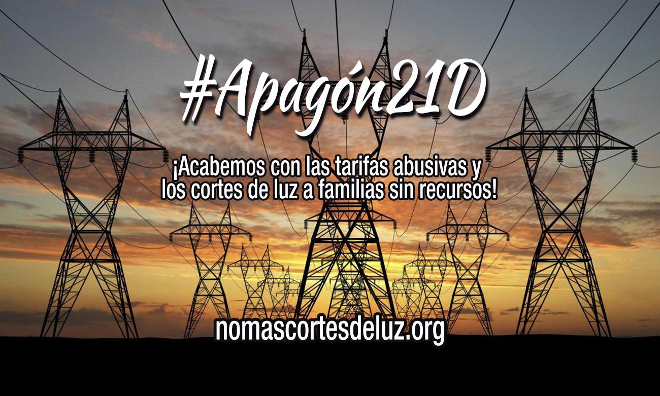 #Apagón21D: Organizaciones y partidos convocan movilizaciones contra los abusos de las eléctricas