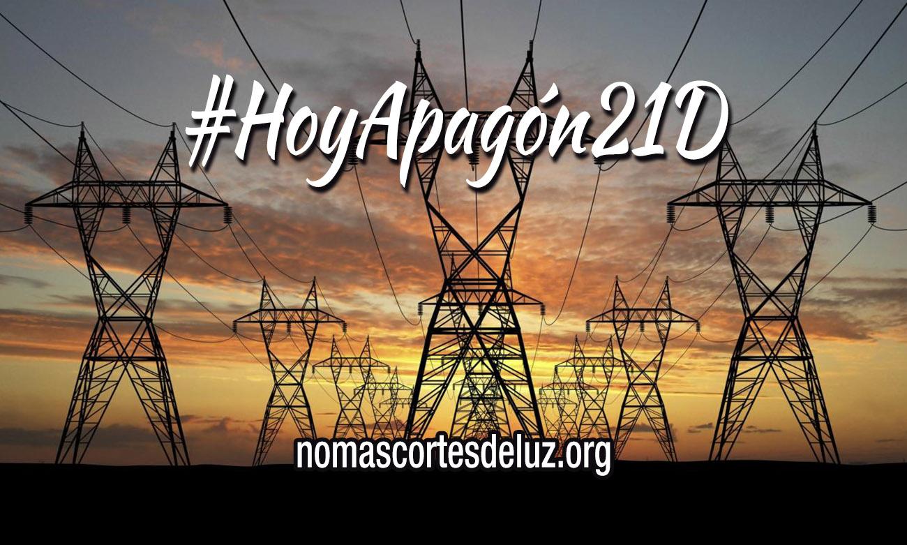 #HoyApagón21D A las 19h apago la luz para exigir la prohibición de los cortes a familias sin recursos