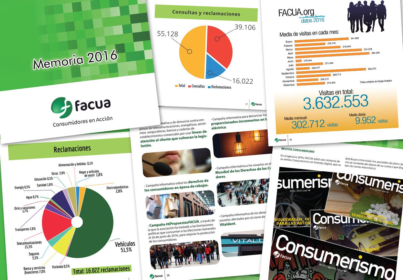 FACUA publica su 'Memoria 2016', un año que cerró con casi 200.000 socios de pleno derecho y adheridos