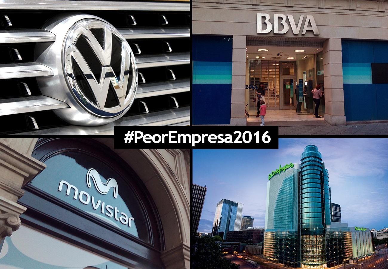 Ya puedes elegir a la #PeorEmpresa2016: las nominadas son BBVA, El Corte Inglés, Movistar y Volkswagen