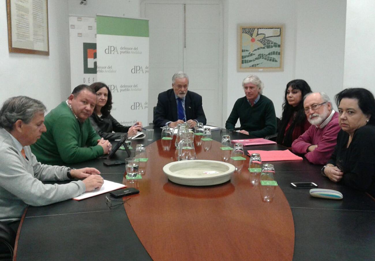 La marea blanca de Sevilla se reúne con el Defensor del Pueblo andaluz para exponer sus reivindicaciones