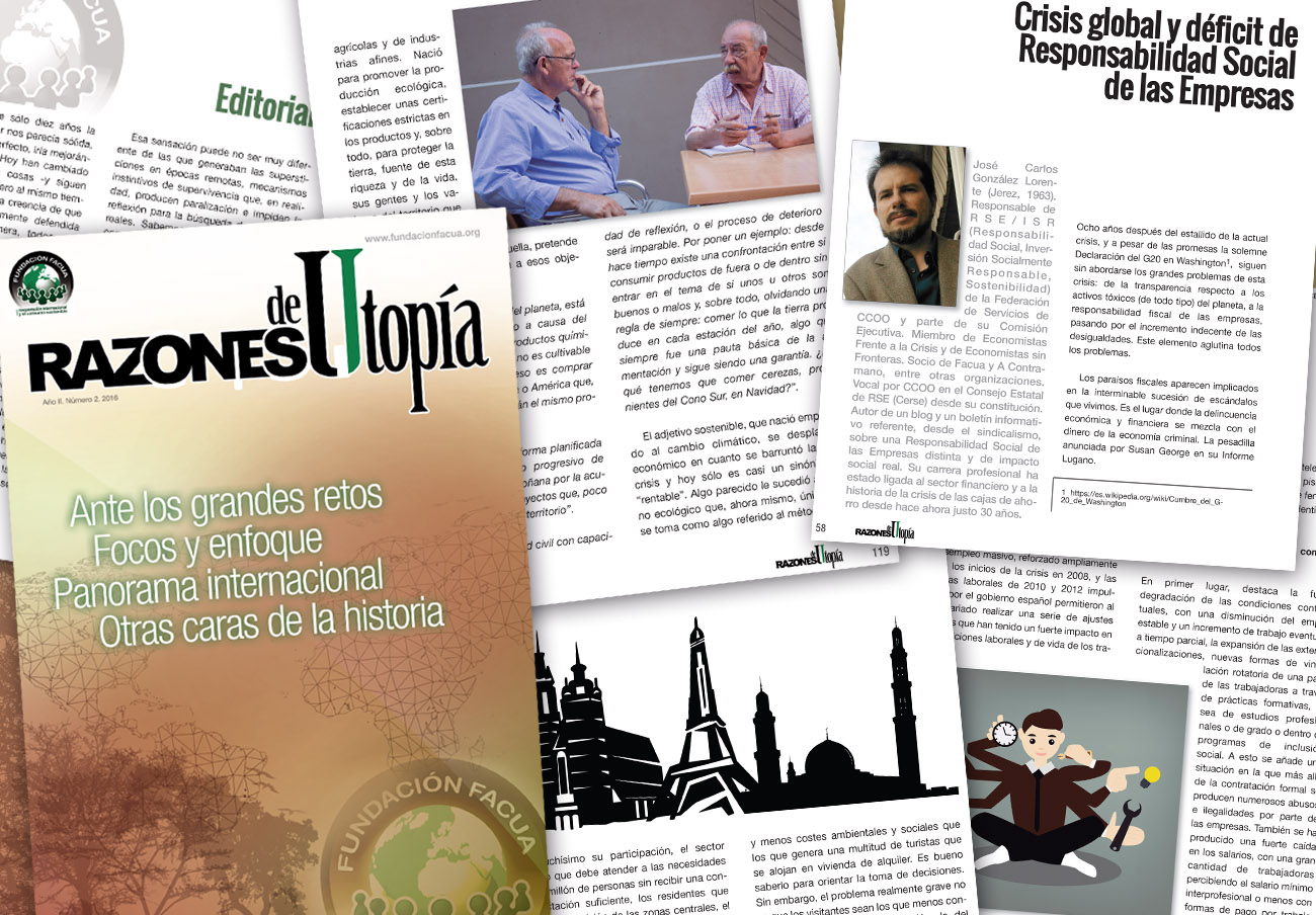 La Fundación FACUA publica el segundo número de su revista 'Razones de Utopía'