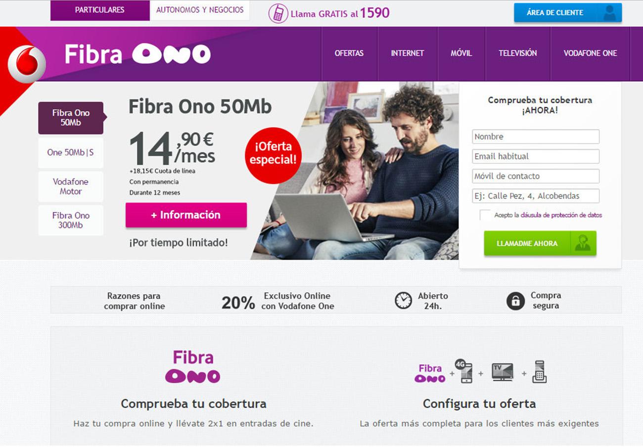Vodafone Ono indica con caracteres mucho más pequeños que, además, hay que pagar una cuota de línea de 18,15 euros.
