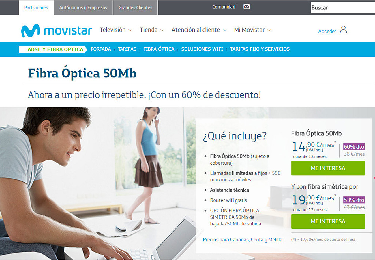 A 17,40 euros asciende la cuota de línea que Movistar trata de hacer pasar desapercibida en su publicidad.