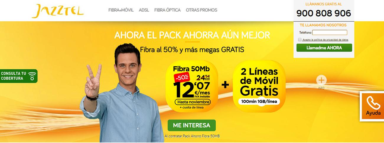 En la publicidad de Jazztel, Christian Gálvez anuncia la fibra óptica a 12,07 euros más cuota de línea, sin especificar su cuantía.