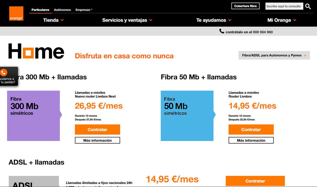 Orange, en la fibra óptica que oferta bajo la denominación comercial de Home, ni siquiera indica que hay que pagar cuota de línea alguna.