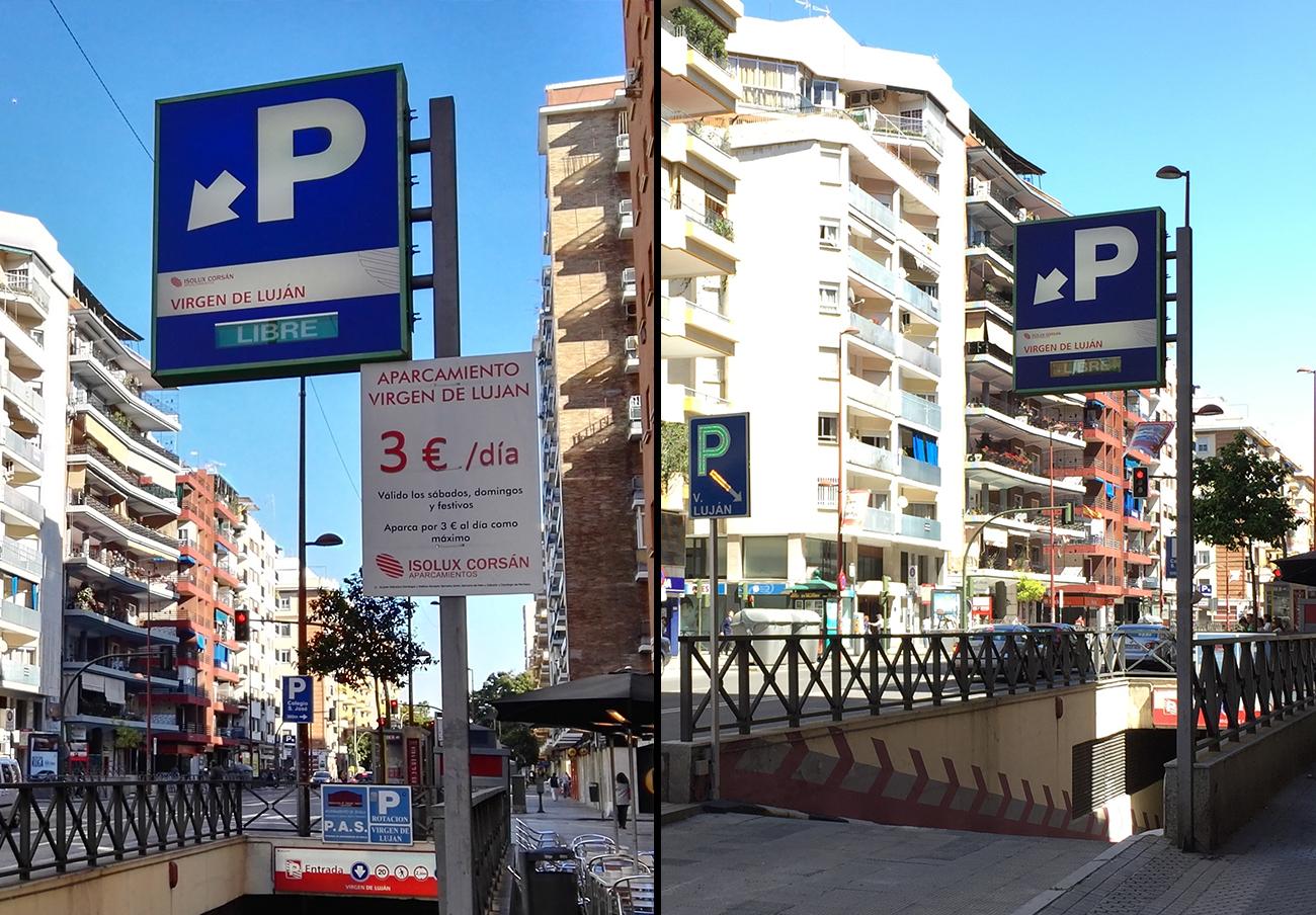 """""""3€/día"""": Tras la actuación de FACUA Sevilla, un parking cercano a la Feria retira su publicidad engañosa"""