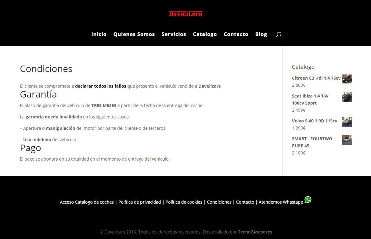 Las condiciones de venta, tal y como aparecen en la página web de Davelicars.