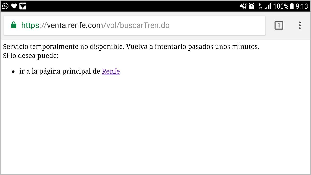 Captura de pantalla del aviso de Renfe.