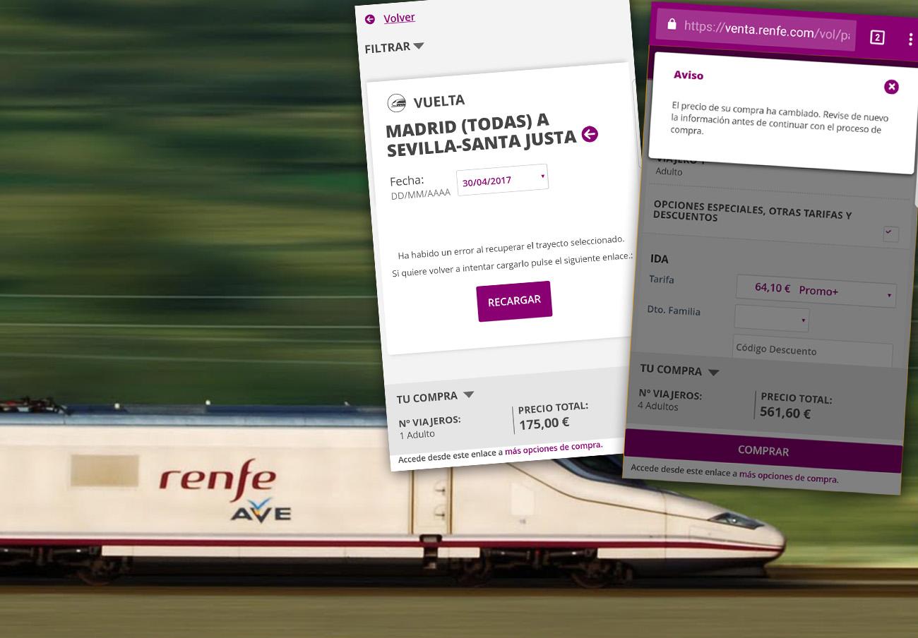Caos en la web de Renfe: sus billetes de AVE a 25 euros multiplican el precio hasta por 7 al solicitarlos