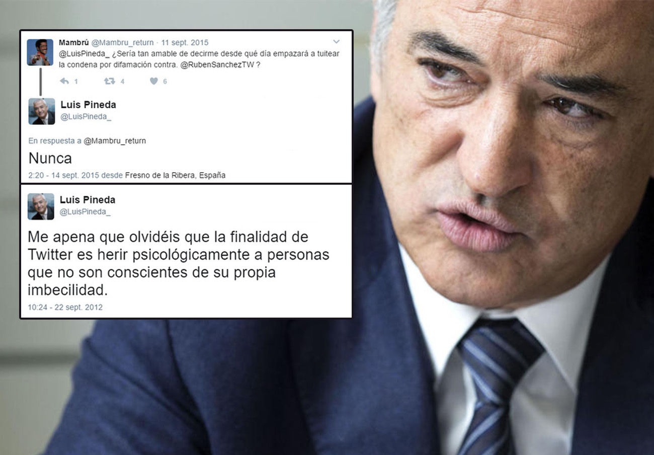 Pineda dice que no puede tuitear la sentencia por difamar a Rubén Sánchez porque no recuerda su cuenta