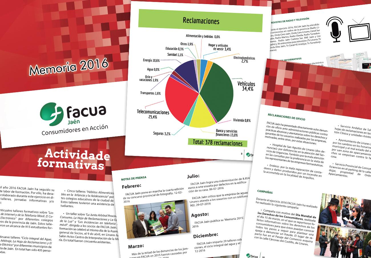 FACUA Jaén publica su 'Memoria 2016'