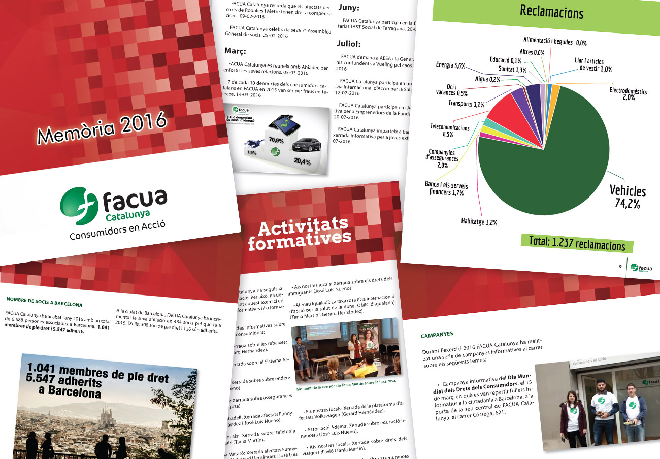 FACUA Catalunya publica la seva 'Memòria 2016'