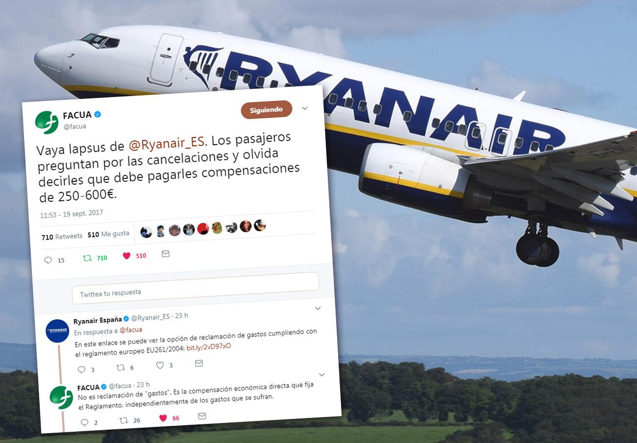 Ryanair intenta despistar en las redes: tergiversa qué dice la ley y omite el derecho a compensación