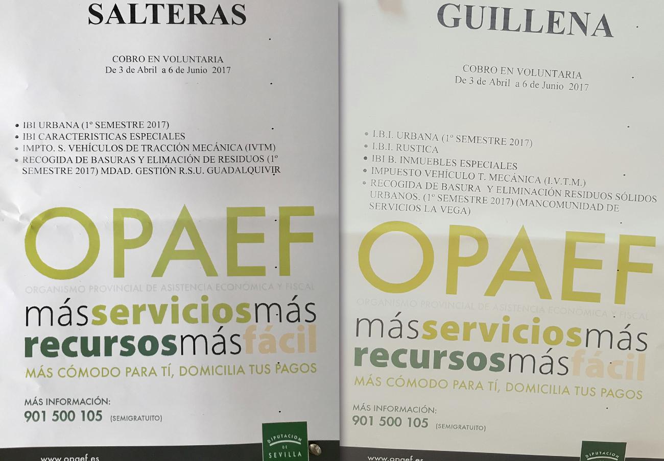 Ejemplos de los carteles que ha distribuido por los municipios.