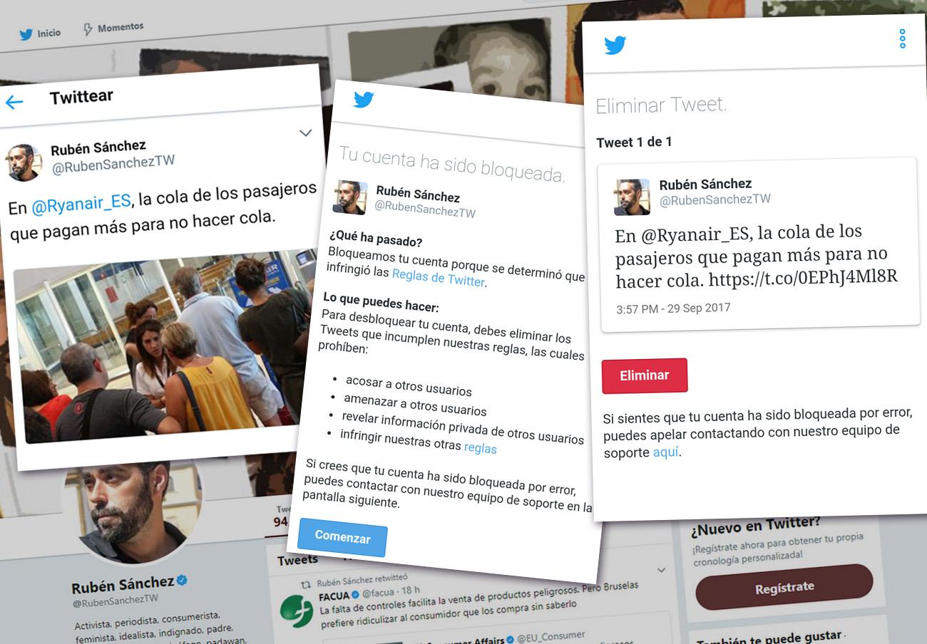 Censura en Twitter: bloqueada la cuenta del portavoz de FACUA por un tuit en el que critica a Ryanair