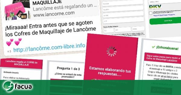 7fe9400b0 FACUA alerta de la nueva estafa por WhatsApp: los falsos cofres de  maquillaje de Lancôme