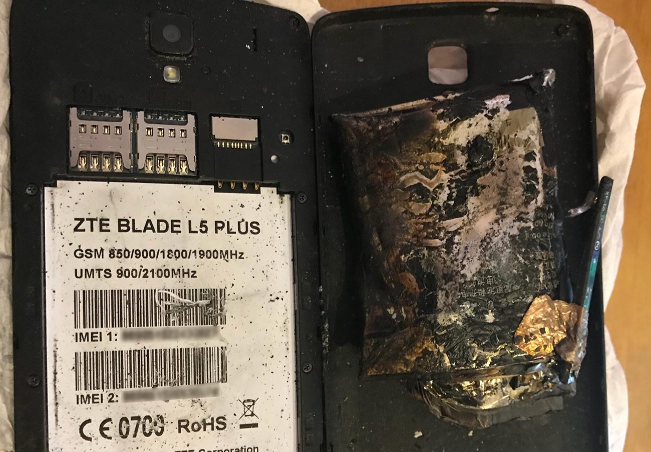 Explota la batería de un móvil ZTE al hijo de una socia de FACUA en Palma de Mallorca