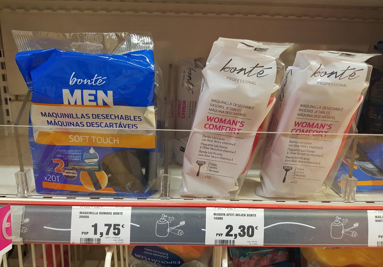 """Maquinillas de afeitar """"para mujeres"""": idénticas al resto pero hasta un 171% más caras, denuncia FACUA"""