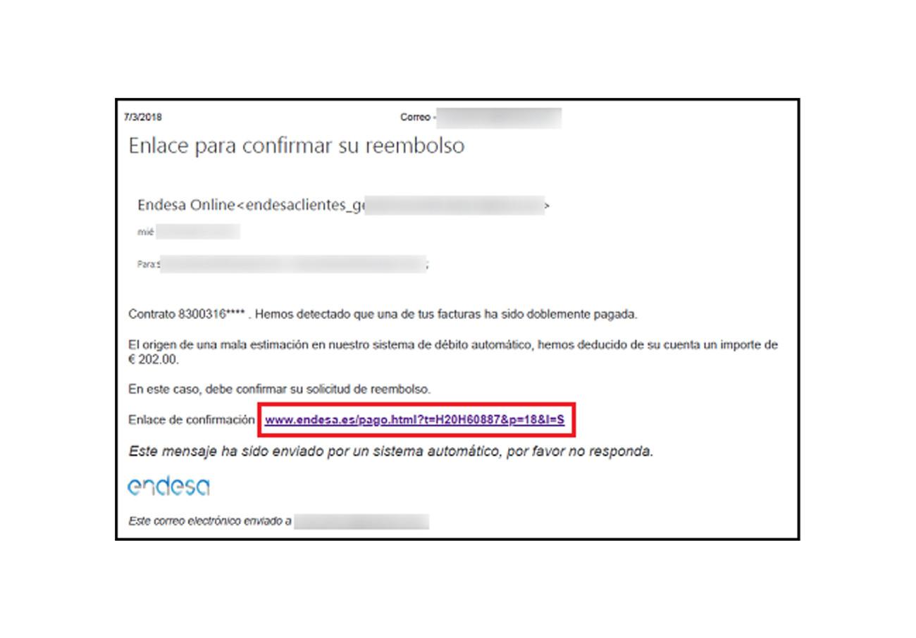 El correo fraudulento indica a los usuarios que ha habido un error con su factura
