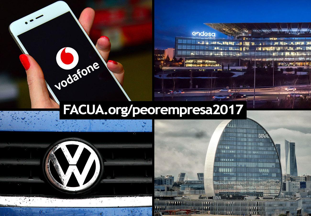 BBVA, Endesa, Vodafone y Volkswagen, nominadas en la 9a edición de los premios a La Peor Empresa del Año