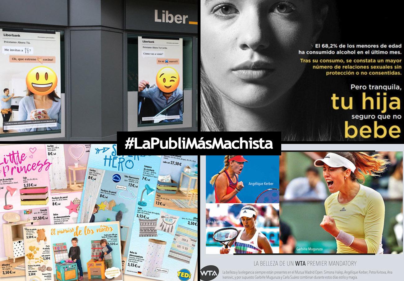 Los nominados a #LaPubliMásMachista del año son Liberbank, Madrid Open, TeDi y el Ministerio de Sanidad