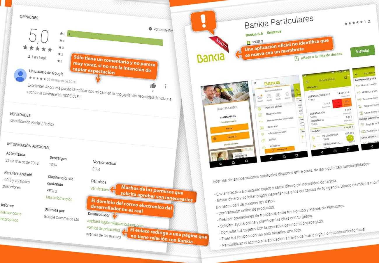 FACUA alerta de una aplicación fraudulenta que suplanta a la oficial de Bankia en Google Play