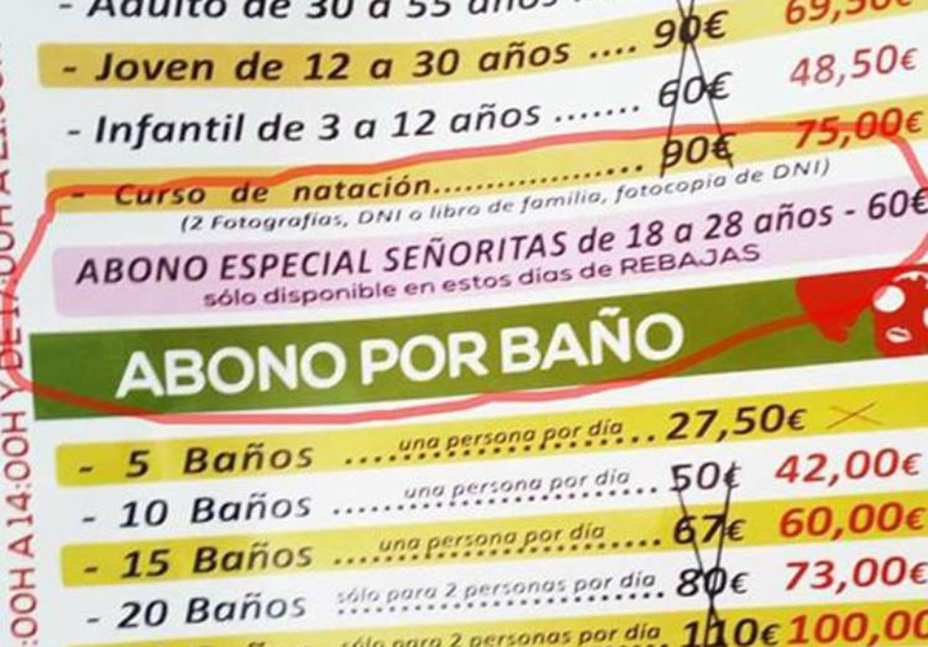 """FACUA denuncia la publicidad sexista de una piscina que oferta un bono a """"señoritas de 18 a 28 años"""" en Linares"""