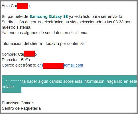 Correo electrónico fraudulento enviado a los usuarios. | Imagen: Oficina de Seguridad del Internauta
