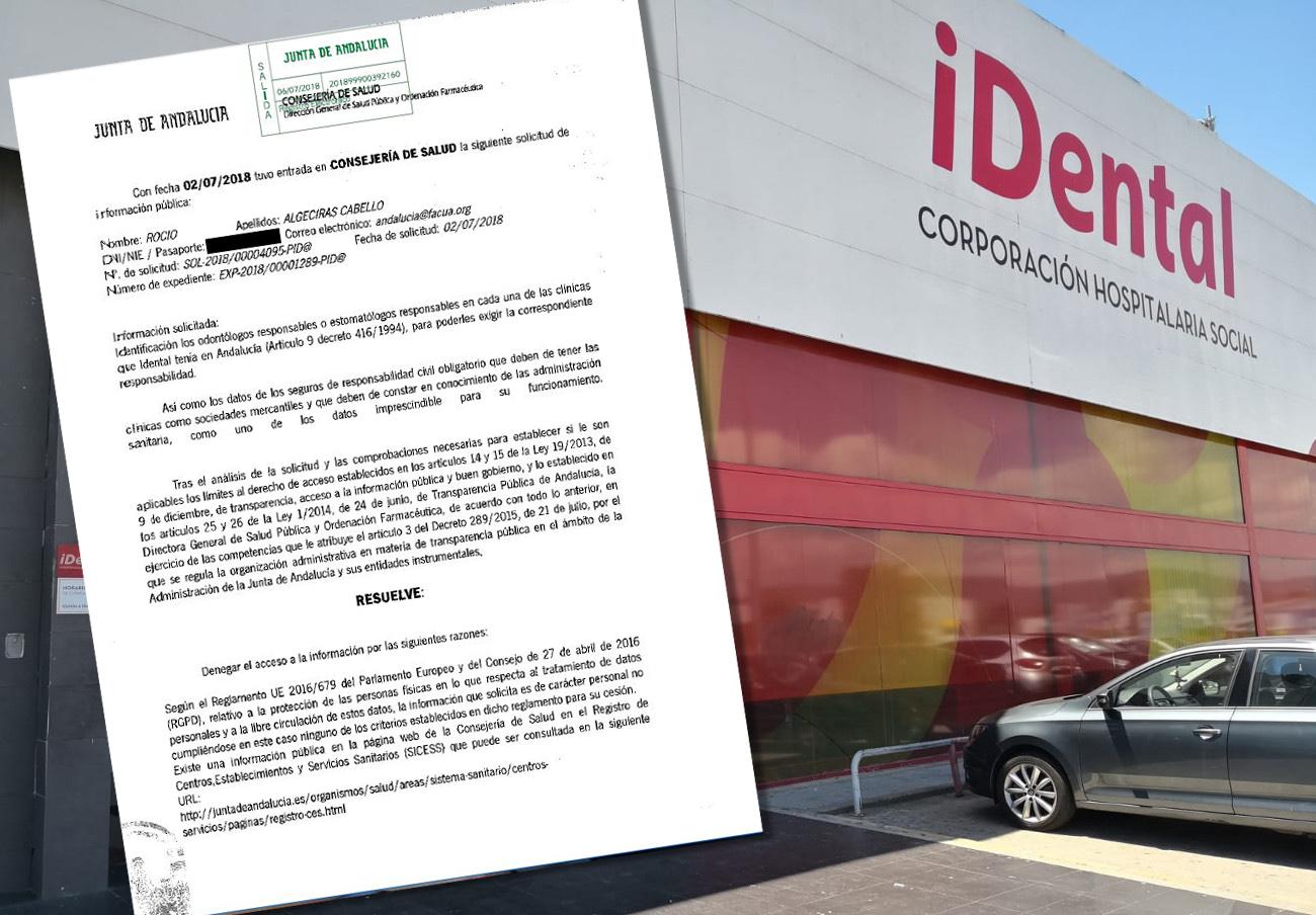 La Consejería de Salud andaluza niega a FACUA los nombres de los odontólogos y aseguradoras de iDental