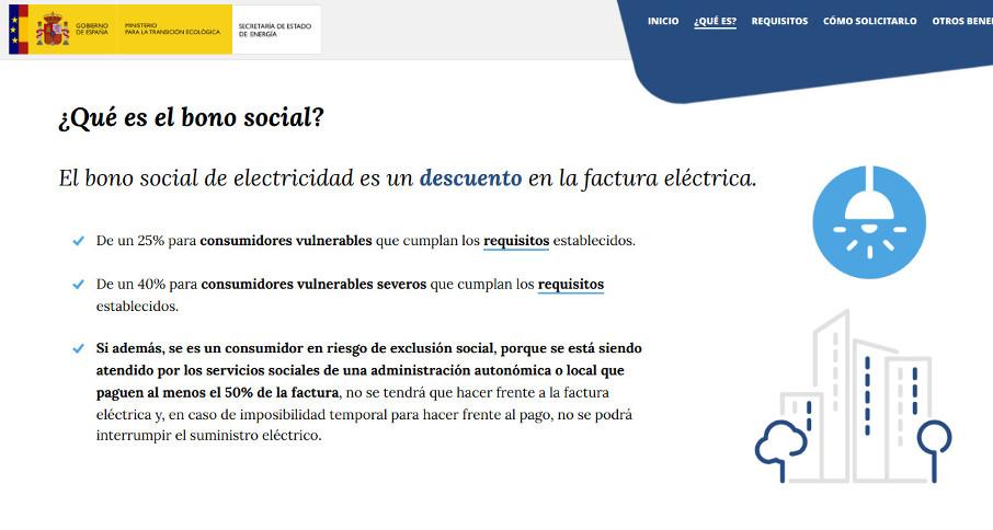 La web de la Secretaría de Estado de Energía sobre el bono social incluye información engañosa sobre sus características. Los descuentos no se aplican a la totalidad de la factura. En la energía consumida sólo se bonifican los primeros kWh de cada mes.