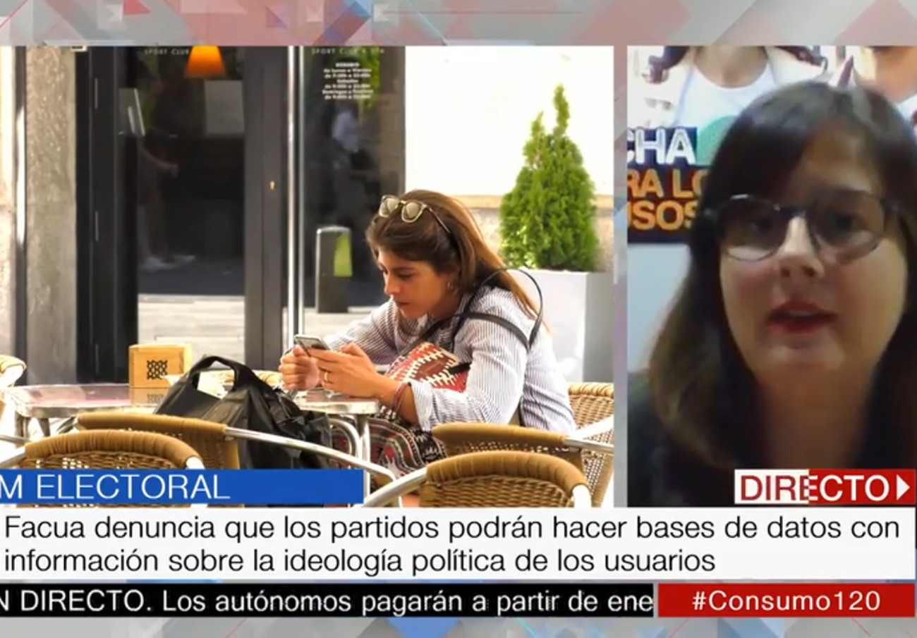 """Ángeles Castellano (FACUA): """"Es grave que los partidos puedan hacer bases de datos de opositores o afines"""""""