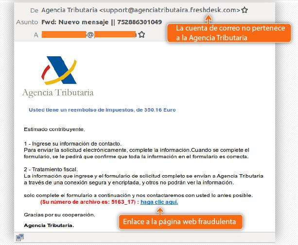 Ejemplo del correo electrónico fraudulento. | Imagen: Oficina de Seguridad del Internauta.