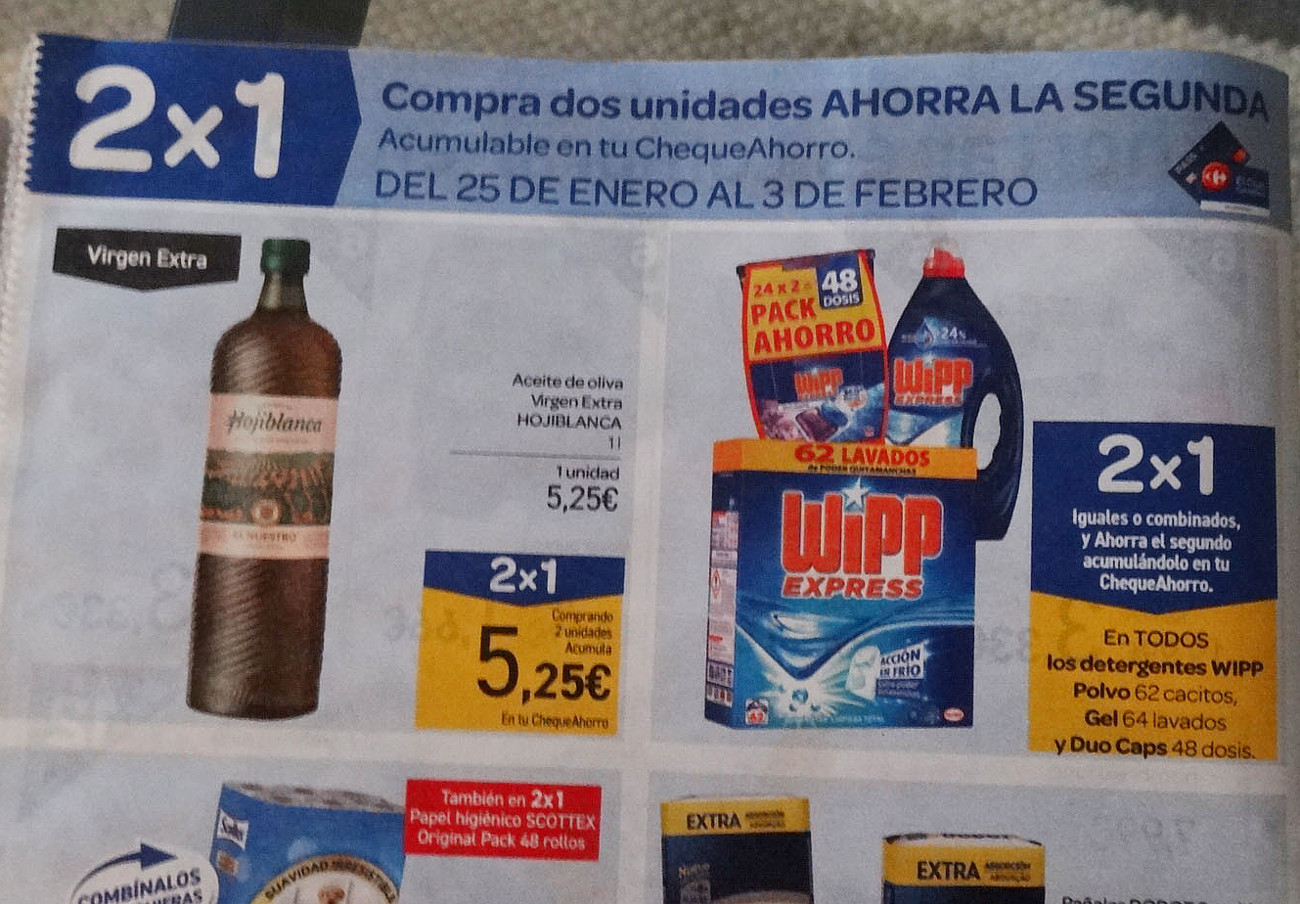 FACUA denuncia a Carrefour por una promoción 2x1 que en realidad es 3x2